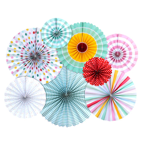Set of 8 Assorted Pastel Concertina Paper Fan Hanging Decorations