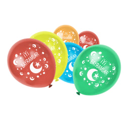 Multicolour İyi Bayramlar Turkish Moon & Star Balloons (15 Pack)