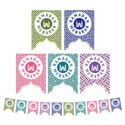 Multicolour Geometric Pattern Ramadan Mubarak Mosque Cutout Card Bunting - 2 meters