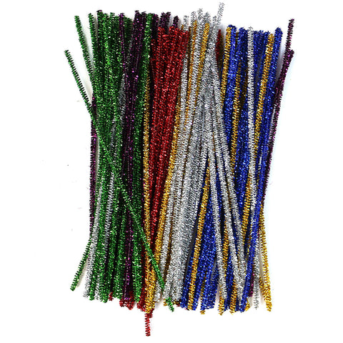 Pack of 100 Multicolour Tinsel Eid Arts & Craft Pipe Cleaners