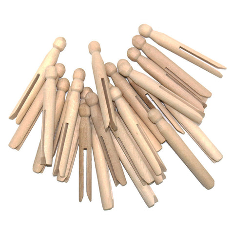 Pack of 12 Natural Wooden Eid Arts & Crafts Dolly Pegs