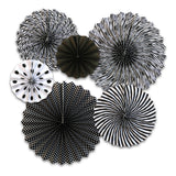 Black & White Eid Mubarak Balloons, Paper Fans & Silver Bunting Decoration Set