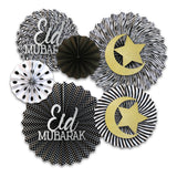Set of 6 Black & White Eid & Ramadan Hanging Concertina Fan Decorations
