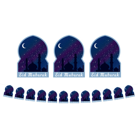 Night Sky Mosque Silhouette Eid Mubarak Card Bunting - 3 meters