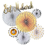 Classic Gold & Silver Concertina Fans With Gold Italic Eid Mubarak Banner