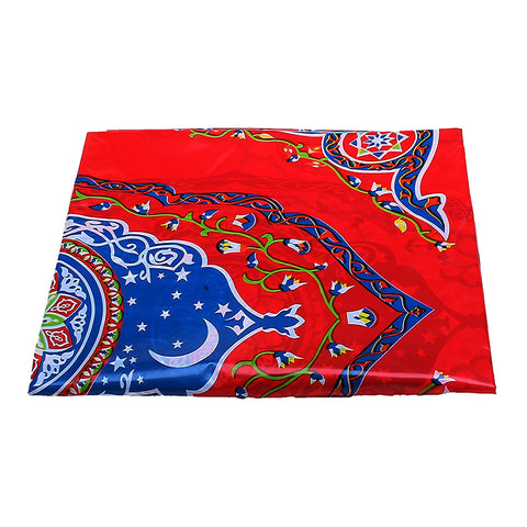 Red Ornate Floral Eid Party Plastic Table Cover