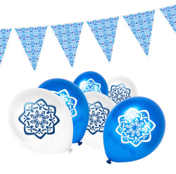 Blue & White Ottoman Bunting & Balloon Set