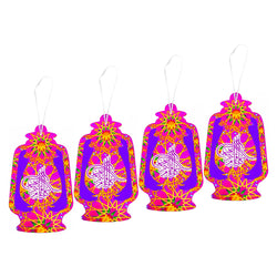 Large Pink & Purple Paper Lantern Eid Mubarak Celebration Hanging Decorations
