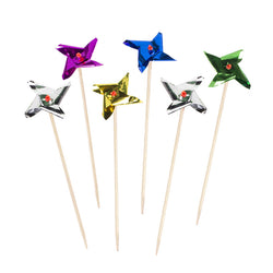 Pack of 100 Metallic Spinning Pinwheel Cocktail Sticks
