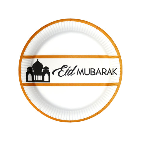 White & Gold 'Eid Mubarak' Party Paper Plates (10 Pack)