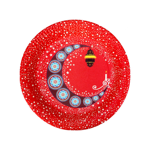 Red Moon & Lantern Eid Party Paper Plates (10 Pack)