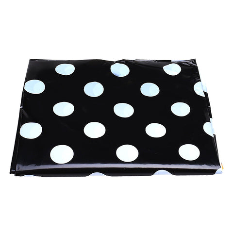 Black & White Polka Dot Eid Party Plastic Table Cover
