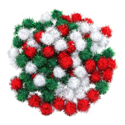 Red, White & Green Glitter Eid Arts & Crafts Pom Poms