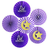 Set of 6 Purple Assorted Eid & Ramadan Hanging Concertina Fan Decorations