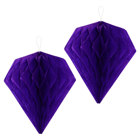 Pack of 2 Purple Diamond Paper Honeycomb Hanging Decorations