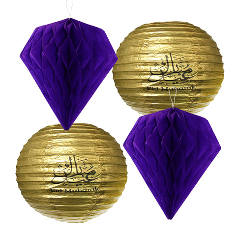 Set of 4 Assorted Paper Eid Hanging Lanterns - 2x Purple 2x Gold