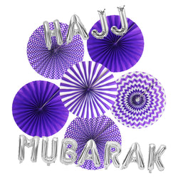 Hajj Mubarak Silver Foil Balloons & Purple Paper Fans Decorations Set