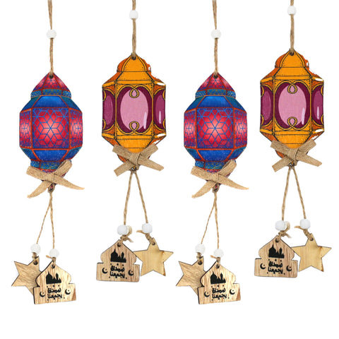 Set of 4 Purple Wooden Ramadan Lantern Hanging Decorations