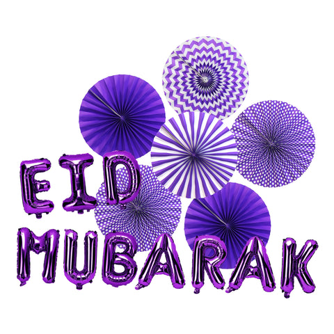 Purple Paper Fans & Purple Foil Eid Mubarak Balloons Decorations Set