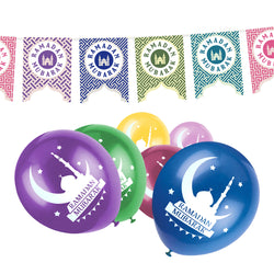 Ramadan Mubarak Multicolour Mosque Cutout Bunting & Balloon Set