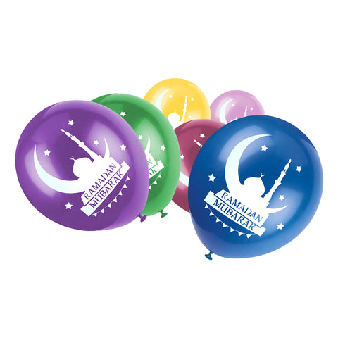 Multicolour Ramadan Mubarak Mosque & Moon Balloons (12 Pack)