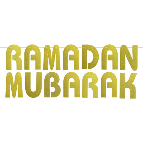 Gold Glitter Letter Ramadan Mubarak Hanging Bunting Decoration - 2 meters