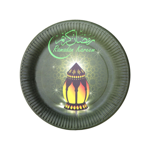 Black & Green 'Ramadan Kareem' Eid Party Paper Plates (10 Pack)