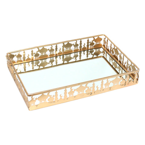 Golden Metal & Mirror Eid & Ramadan Large Rectangle Serving Tray