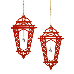 Set of 2 Red Wooden Crosshatch Ramadan / Eid Lantern Hanging Decorations