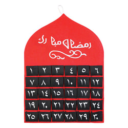 Red Arabic Numbers Felt Ramadan Advent Calendar