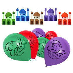 Purple, Green & Red Eid Mubarak Calligraphy Balloons & 5 x Felt Mosque Hanging Decoration Set