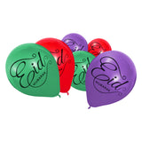 Purple, Green & Red Eid Mubarak Calligraphy Balloons (15 Pack)