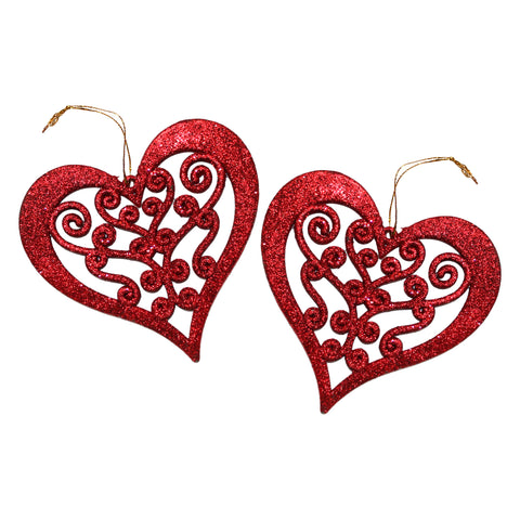 Pack of 2 Red Glitter Hanging Hearts Eid & Ramadan Decoration