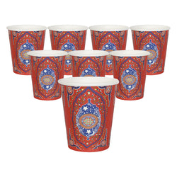 Red Ornate Floral Eid Party Paper Cups (10 Pack)