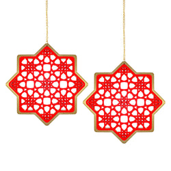 Set of 2 Wooden Ramadan & Eid Ornate Hanging Star Decorations - Red / Gold Outline