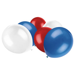 Metallic Red White & Blue Latex Eid Party Balloons (20 Pack)