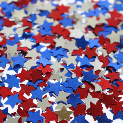 Red, Blue & Silver Metallic Star Shaped Eid Table Confetti