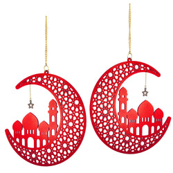 Set of 2 Red Wooden Ramadan / Eid Crescent Moon & Mosque Hanging Decorations