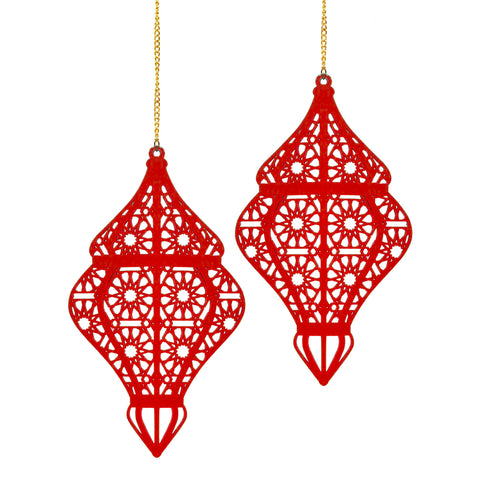 Set of 2 Red Wooden Ramadan / Eid Lantern Hanging Decorations