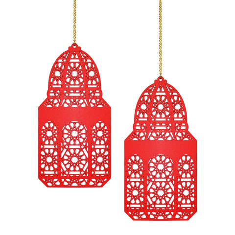 Set of 2 Red Geometric Pattern Wooden Ramadan / Eid Lantern Hanging Decorations