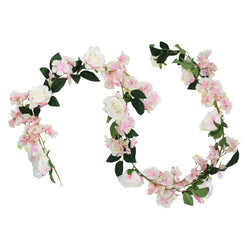 2 Meter Artificial White / Pink Rose & Leaf Garland