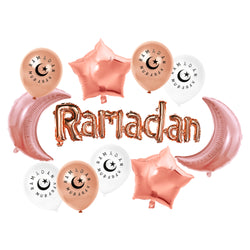 Rose Gold Foil Ramadan, Crescent Moons, Stars & Rose Gold / White Balloon Set