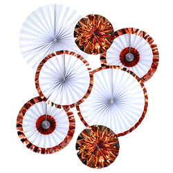 Set of 6 Rose Gold Eid & Ramadan Hanging Concertina Fan Decorations
