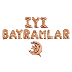 Rose Gold 'İyi Bayramlar' Turkish Foil Letter Balloons