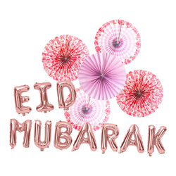 Floral Paper Fans & Rose Gold Foil Eid Mubarak Balloons Decorations Set