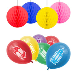 Eid Mubarak Multicolour Balloons & Hanging Honeycomb Balls Party Set