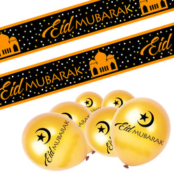 Eid Mubarak Gold Moon & Crescent 10x Balloons & Black & Gold Banner Set