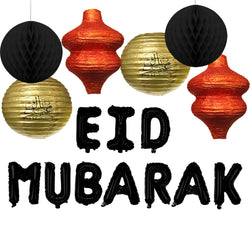 Set of 4 Assorted Paper Eid Hanging Lanterns, 2x Honeycomb Balls & Black Eid Mubarak Foil Letter Balloons