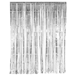 Metallic Silver Foil Tinsel Curtain Backdrop Decoration