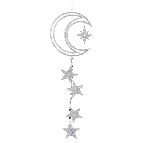 Large Silver Glitter Crescent Moon & Stars Hanging Decoration